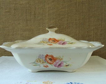 VINTAGE ANTIQUE TRANSFERWARE Serving Covered Dish Thompson Pottery Co Chatham Design - Antique