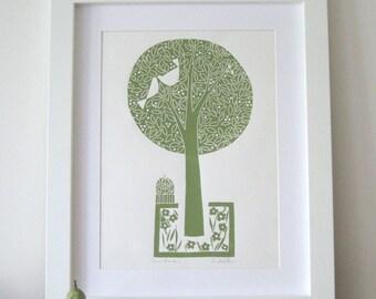 Love Birds - LARGE Tree of Life - Linocut  Print - White Doves - Soft Green Art, Original Print - Love Garden Signed Giuliana Lazzerini