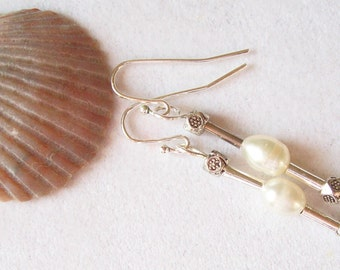 Freshwater Pearl  Earrings, White and Silver, Pearl Earrings  ID 156
