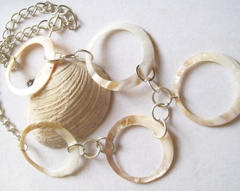Shell Loop Necklace White, Beige and Tan  ID 118