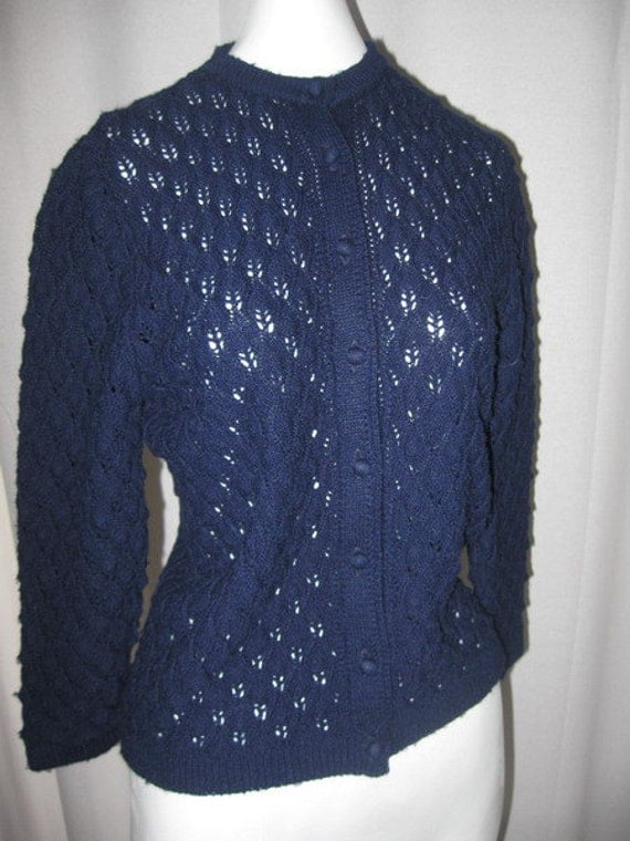 Adorable 60's Navy Blue Cardigan Sweater