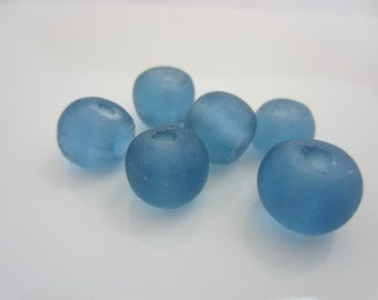Blue Recycled Glass Beads - 12mm -qty. 6
