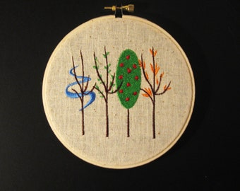 Embroidered Four Seasons Hoop Art - Embroidered on Sand Colored Fabric - 5 Inch Hoop