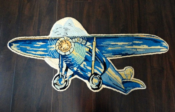 Vintage Hooked Airplane Rug In Wool With Blues Pastel Yellow
