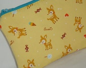 Smirky Deer and Sweets Zippered Pouch --- Yellow (Camera / IPod / Cell Phone Case)
