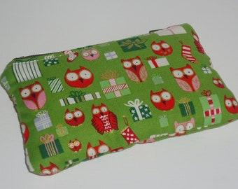 Kawaii Zippered Pouch ( Gift Card Case / IPod / Camera Bag) -- Hootie Owls & Gifts