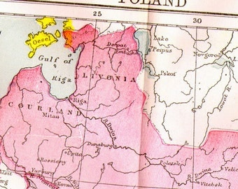 Poland Map Antique Copper Engraving Vintage European Cartography 1892 Victorian Geography Art To Frame