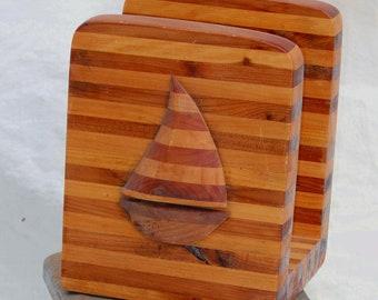 Wooden Sailboat Napkin Holder Cedar Pine 1950s Workshop Classic
