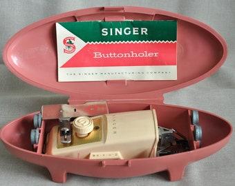 Vintage Singer Buttonhole Button Holer HoleTool Pink Hard Case Vintage Tailor 1960 Sewing Aid