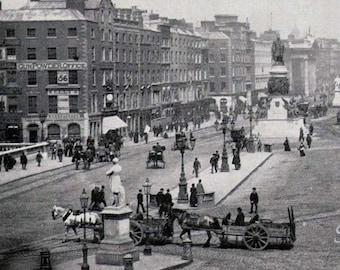 Dublin Ireland Sackville Street 1890 Large Photo Print Original Victorian Rotogravure Illustration To Frame