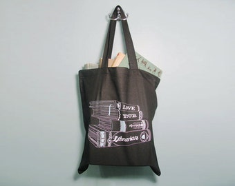 Love Your Librarian Tote Bag, Reusable Grocery, Canvas