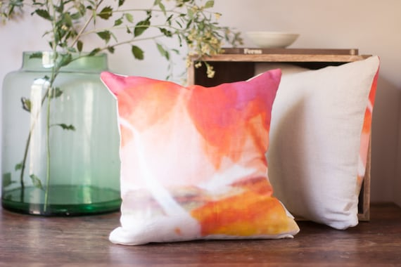 Brightly Colored Neon Watercolor Pillow in Coral & Nectarine