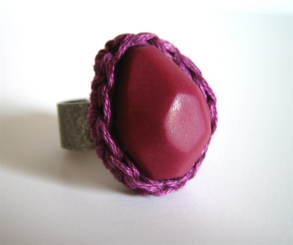 Geo Ring in Plum Purple with Berry Crochet Bezel by Even Howard. Adjustable wide band easily fits 7-10. Chunky Cocktail ring.