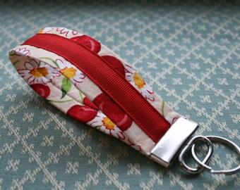 Cherry Fabric Key Chain, Wristloop Keychain