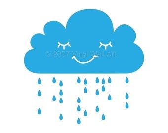 Rain Cloud Vinyl Wall Decal size X-LARGE - Home Decor, Bedroom Decor, Classroom Decor, Nursery Decor, Cloud Decal, Rain Decal,