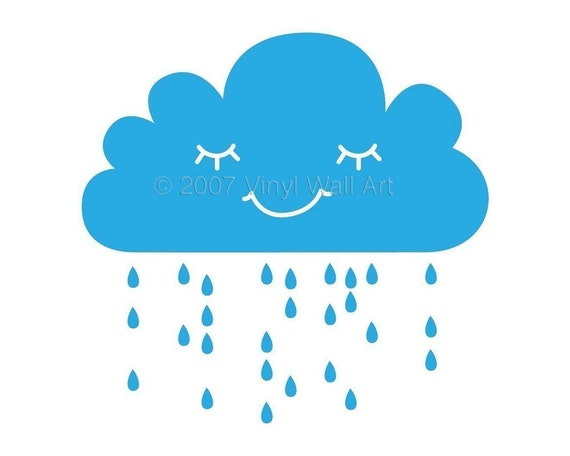 Rain Cloud Vinyl Wall Decal size LARGE - Home Decor, Bedroom Decor, Classroom Decor, Nursery Decor, Cloud Decal, Rain Decal,