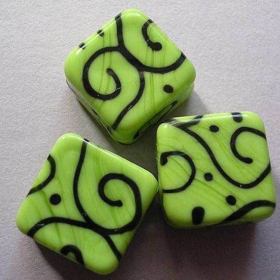 Lampwork Beads Lime Green Handmade Glass Lime Diamonds (3)