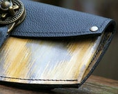 Women's Leather Wallet - Ikat Yellow Steampunk with Antique Brass Hardware