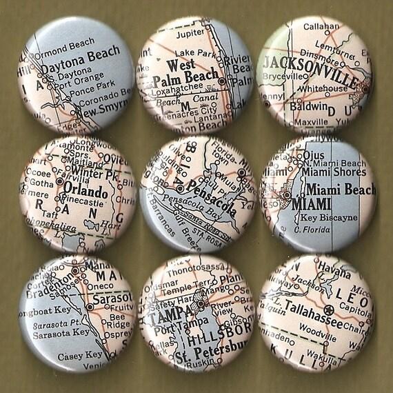 One Inch Magnet Set - Vintage Florida Map - One of a kind set