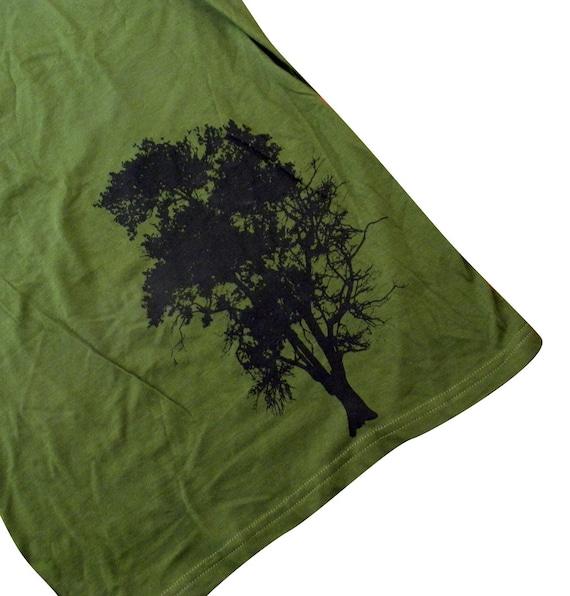 Oak Tree Womens T-Shirt - Forest Green American Apparel Shirt - SALE