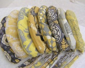 RESERVED 10 x Janbag Wristlet for TRISH, thanks., custom made, bridal, wedding - yellow and gray