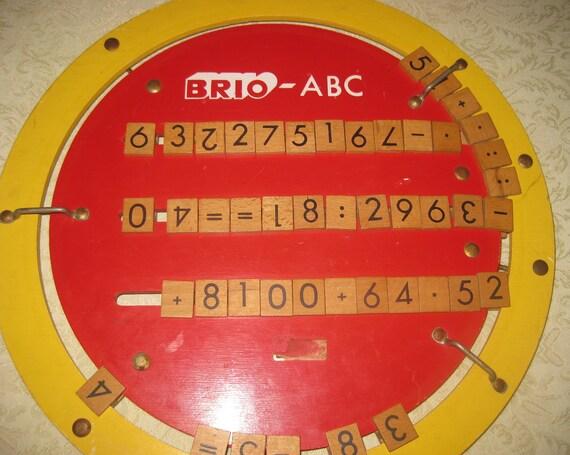 Vintage Brio Wooden ABC Alphabet and Math Wheel Toy