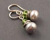 Silver Drops, Peridot, Silver Freshwater Pearl, Sterling Silver Earrings, August Birthstone, August Birthday, erinelizabeth