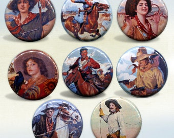 Cowboy and Cowgirl set of 8 magnets 1""