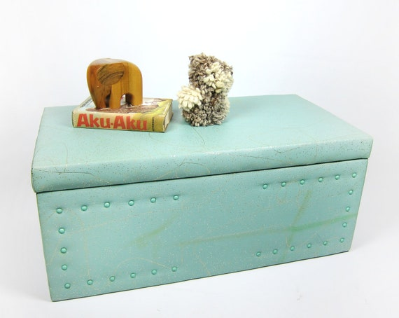 1950s Mid Century Modern Upholstered Naugahyde Gold Sparkle Atomic Wooden Toy Box, Bench, or Storage Ottoman