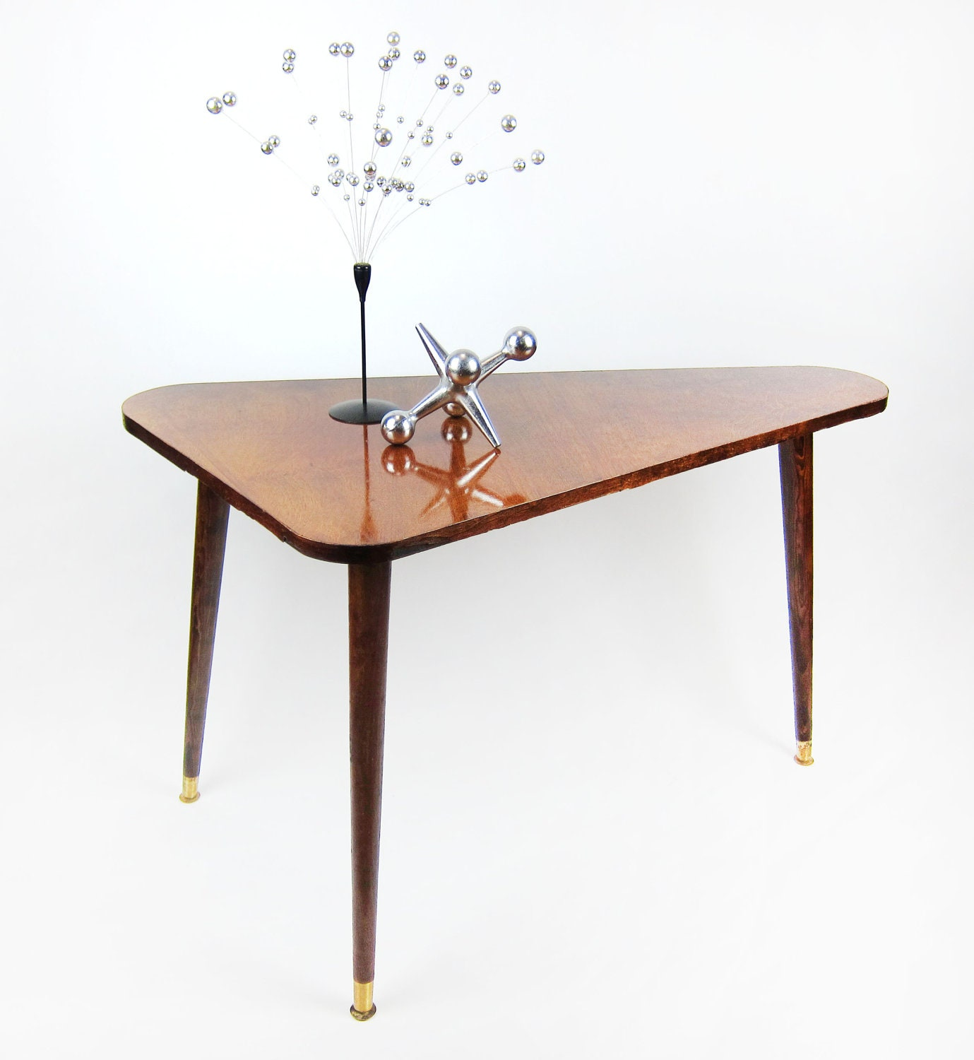 Mid Century Coffee Table And End Tables: Triangle Side Table Mid Century Modern Triangular Coffee