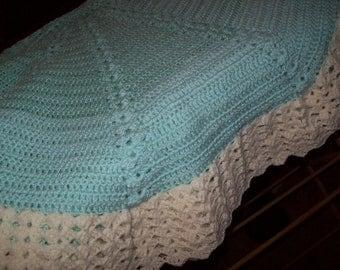 Mint Green Round Afghan Blanket #06