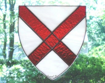 St Patrick Stained Glass Suncatcher Shield, LARGE, White w/ a Red cross, Patron Saint of Ireland