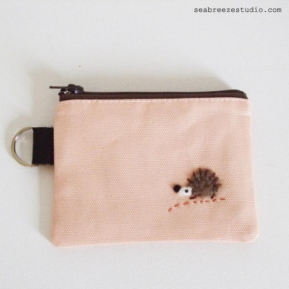 Coin purse/key pouch -pink canvas with a hedgehog appliqué LAST ONE