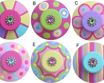 Pink Green Aqua Purple Yellow Hand Painted Swarovski Crystal Jeweled Decorative Colorful Dresser Girl Baby Kids Room Drawer Pulls Knobs