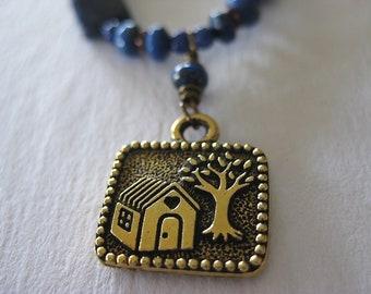 Lapis Necklace House Milagro Charm Amulet September Birthstone Artisan Handmade Jewelry