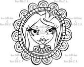 INSTANT DOWNLOAD Digital Digi Stamps Big Eye doll head ~ Pin It (digital stamp) Princess Badge