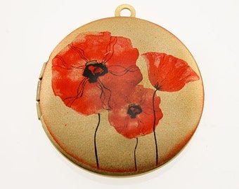Photo Locket, Image Locket, Art Locket, Picture Locket, Brass Locket - POPPIES - RED