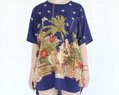 vintage 1980's PARROT PARADISE ornate illustrated plant sheer tunic dress