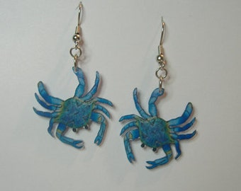 Handcrafted Plastic Blue Crab Dangle Earrings Made in USA