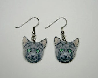 Handcrafted Plastic Gray Cat Head Green Eyes Dangle Earrings Made in USA