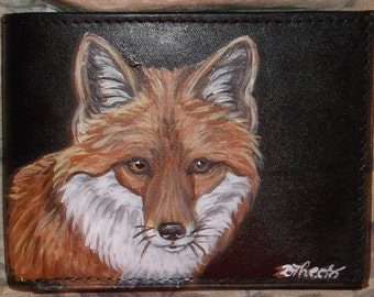 Red Fox Painted Leather Men's Wallet Black