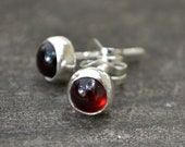 garnet and sterling silver small stud earrings