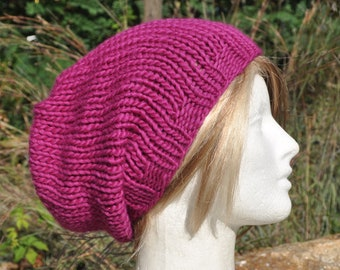 Fuchsia Knit Hat - Wool Ribbed Slouchy Knit Hat - Woman's hat