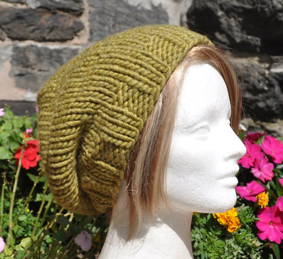 Loose fitting Green Unisex Knit Hat - Ribbed Knit Slouchy Hat - Men's or Women's Knit Hat