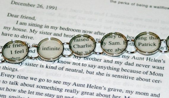 RESERVED - The Perks of Being a Wallflower - recycled book bracelet - limited run