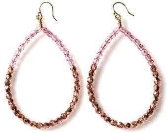 SALE Pink Hoop Earrings, Beaded Hoop Earrings, Pink Earrings, Statement Earrings, Pink Statement Earrings, Big Hoops, Pink Statement Earring