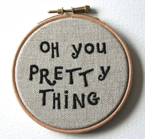 RESERVED Pretty Thing Hand Embroidered Wall Plaque