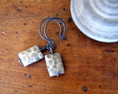 Petoskey Stone Earrings, fossil coral beads, oxidized sterling silver - Fall, Autumn Fashion