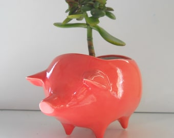 Pig Planter, Ceramic Planter, Vintage Design, Coral Pink, Succulent Planter, Retro, Sponge Holder, Pink Home Decor, Ceramic Pigs, Cactus Pot
