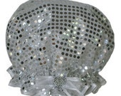 Ladies Shower Cap - Silver Sequin